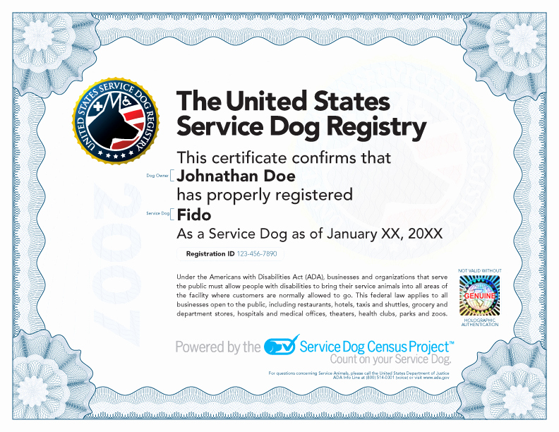 Service Dog Certificate Template New Service Dog Certificate