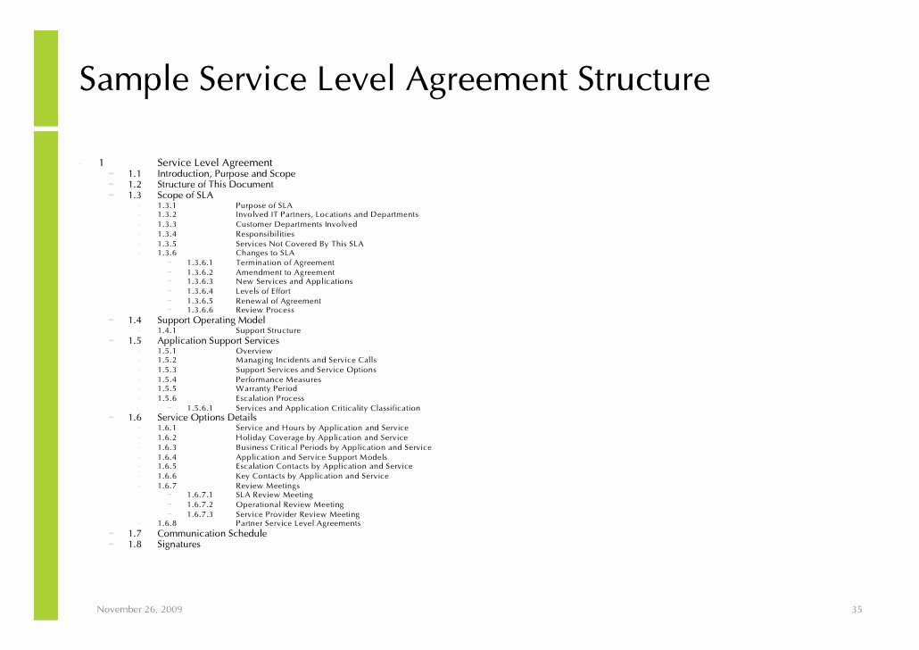 Service Level Agreement Examples Awesome Notes Managed Service and Outsourcing Implementation