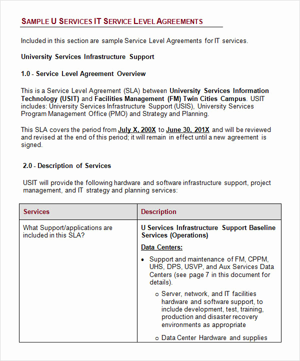 Service Level Agreement Examples Beautiful Service Level Agreement 17 Download Free Documents In