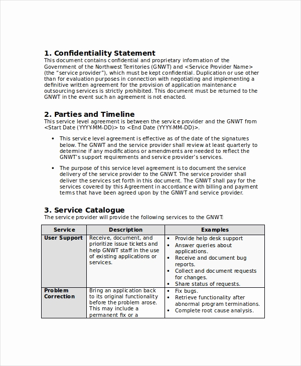 Service Level Agreement Examples Elegant Service Level Agreement 20 Free Pdf Word Psd