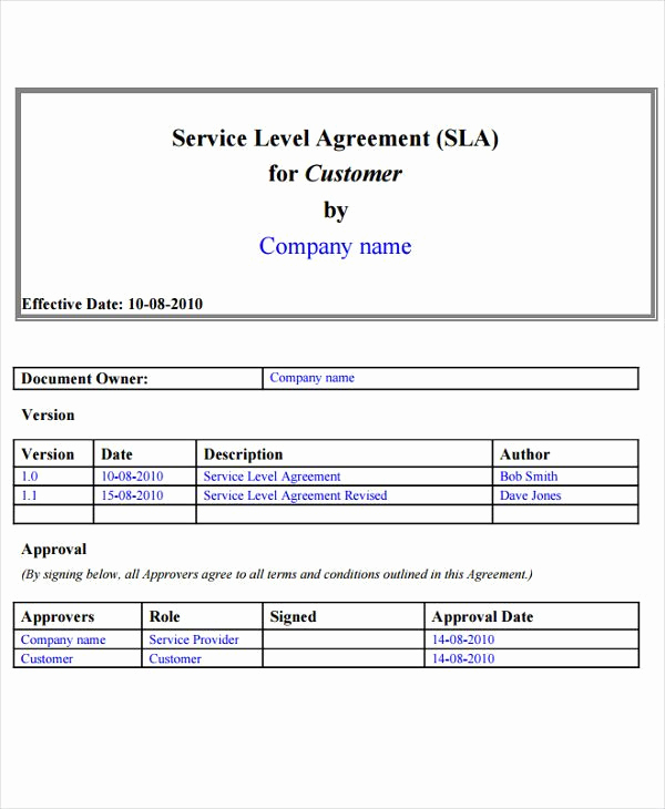 Service Level Agreement Examples Inspirational 9 Service Level Agreement Templates Free Word Pdf