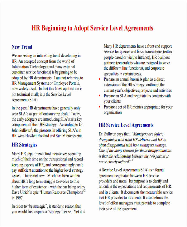 Service Level Agreement Examples Luxury 10 Hr Agreement Samples & Templates Pdf Doc
