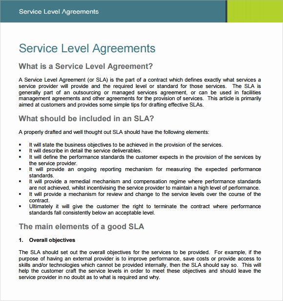 Service Level Agreement Examples New 18 Service Level Agreement Samples Word Pdf