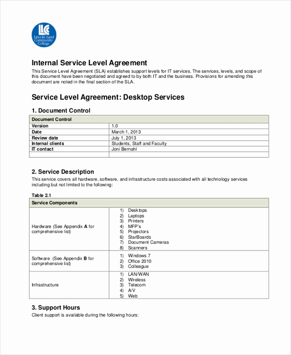 Service Level Agreement Examples New Sample Service Level Agreement form 10 Free Documents
