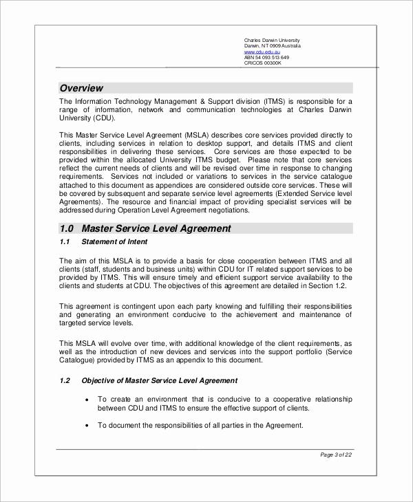Service Level Agreement Examples Unique Sample Service Level Agreement 11 Examples In Word Pdf