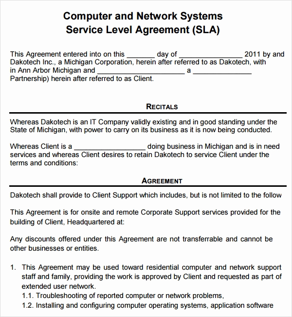 Service Level Agreement Template Best Of Sample Service Agreement Template 17 Free Documents