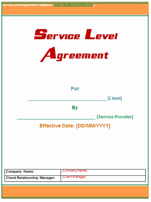 Service Level Agreement Template Best Of Service Level Agreement Template