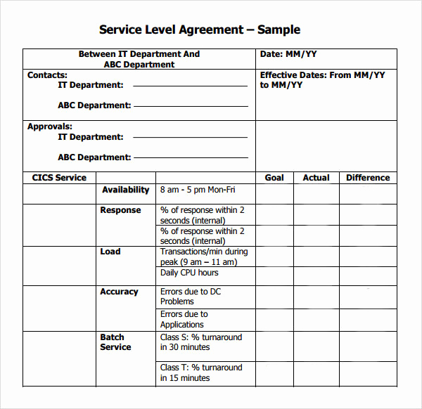 Service Level Agreement Template Fresh Service Level Agreement 9 Download Free Documents In