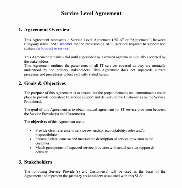 Service Level Agreement Template Inspirational 18 Service Level Agreement Samples Word Pdf
