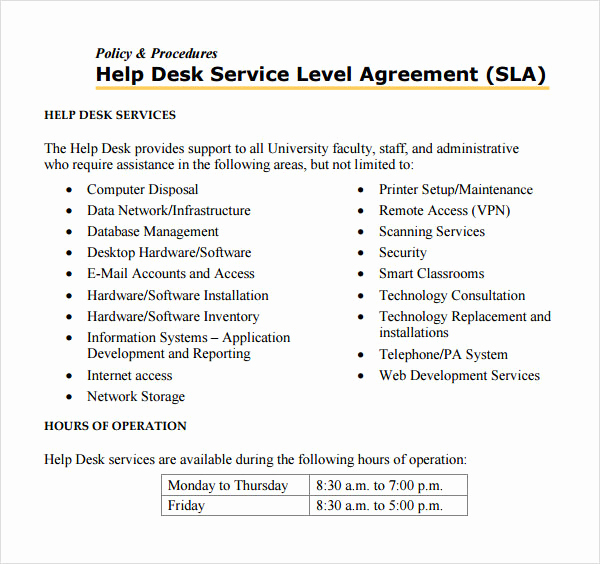 Service Level Agreement Template Inspirational Service Level Agreement 8 Free Pdf Doc Download