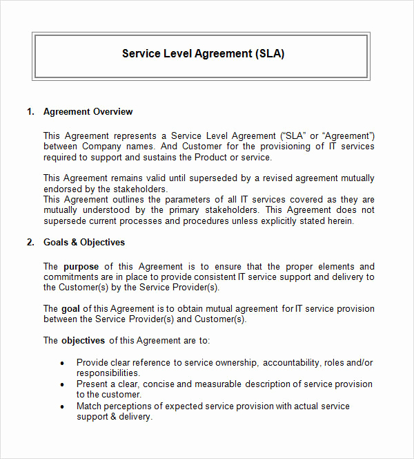 Service Level Agreement Template New Service Level Agreement 17 Download Free Documents In