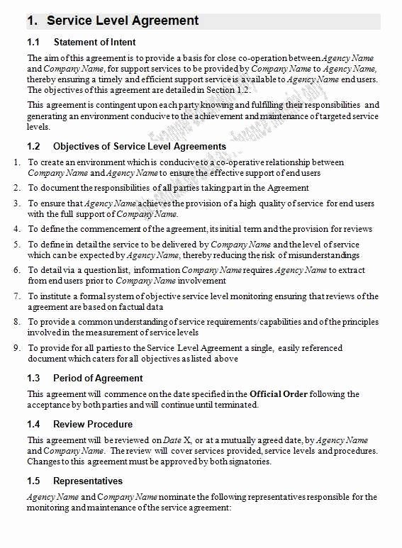 Service Level Agreement Template New Service Level Agreement Template