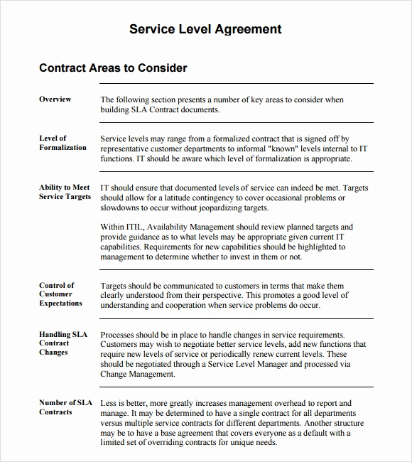 Service Level Agreement Template Unique 18 Service Level Agreement Samples Word Pdf