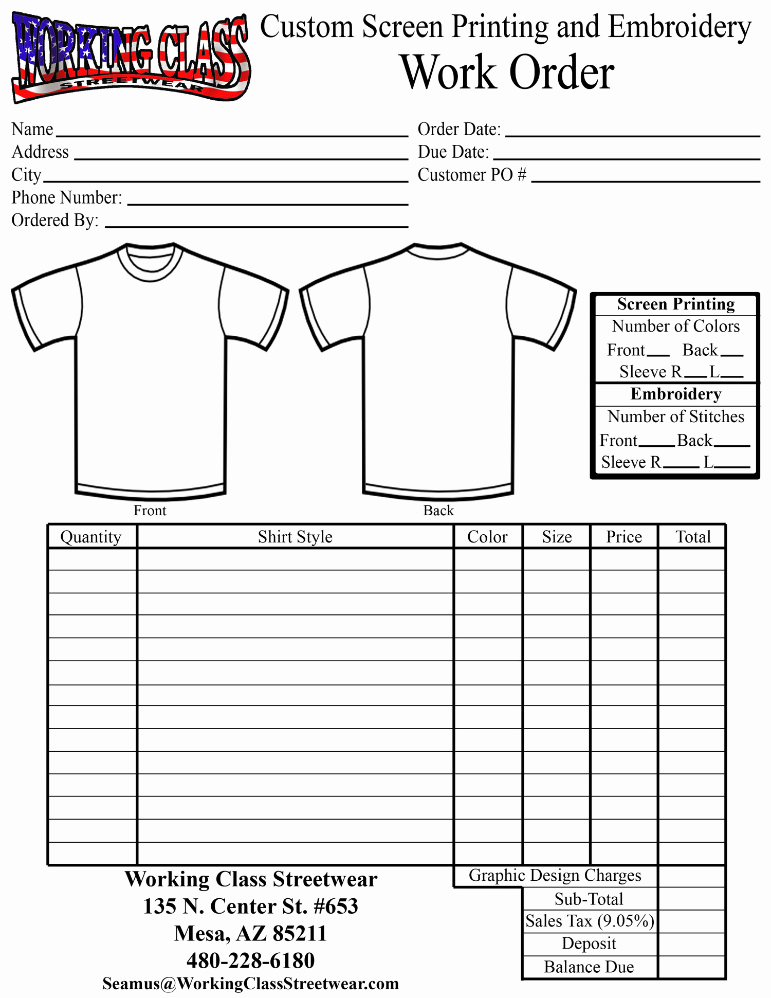Shirt order form Template Best Of Working Class Streetwear Screen Printing