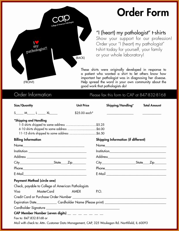 Shirt order form Template Inspirational T Shirt order form Template