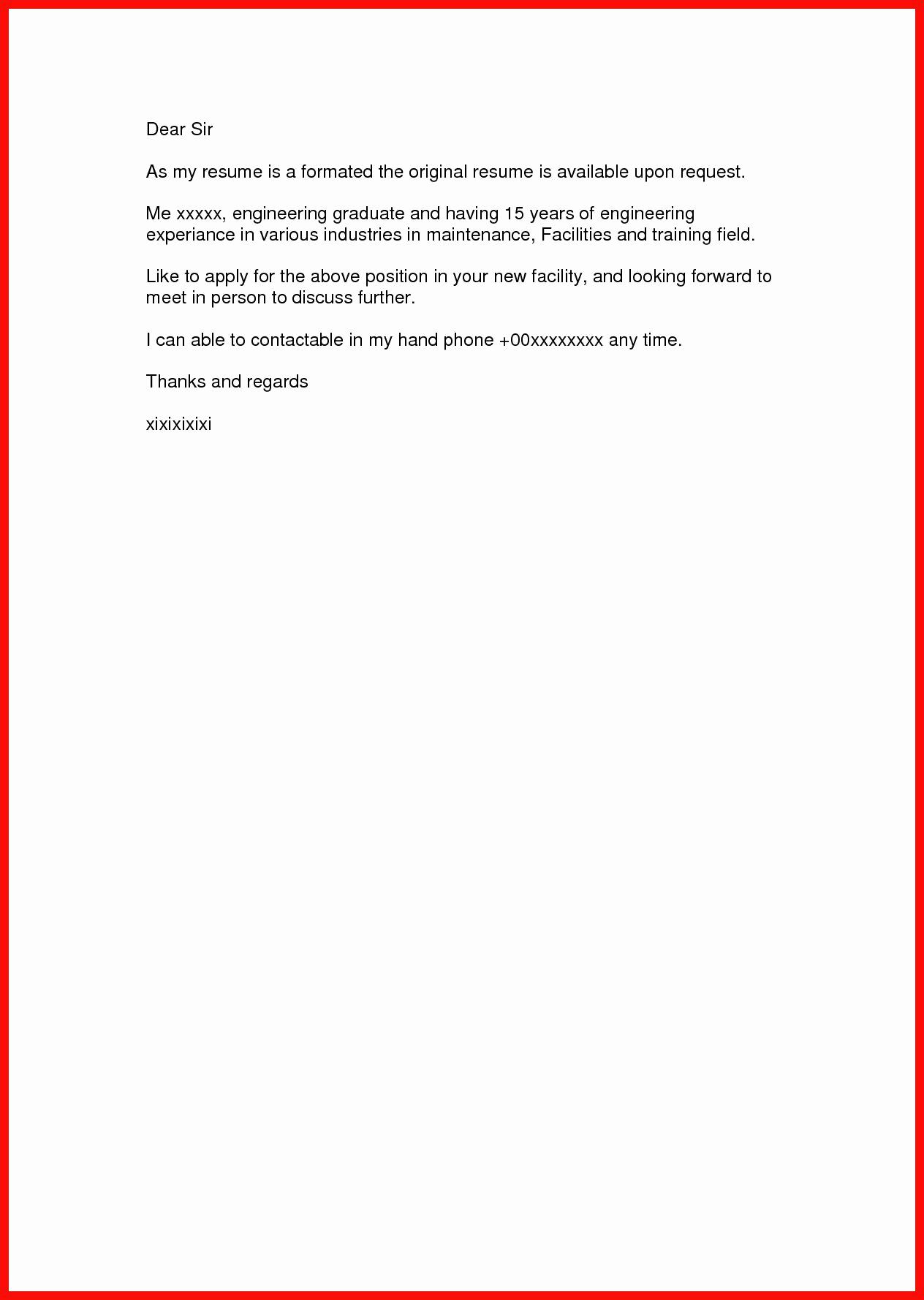 Short Cover Letter Sample Inspirational 23 Short Cover Letter Cover Letter Resume