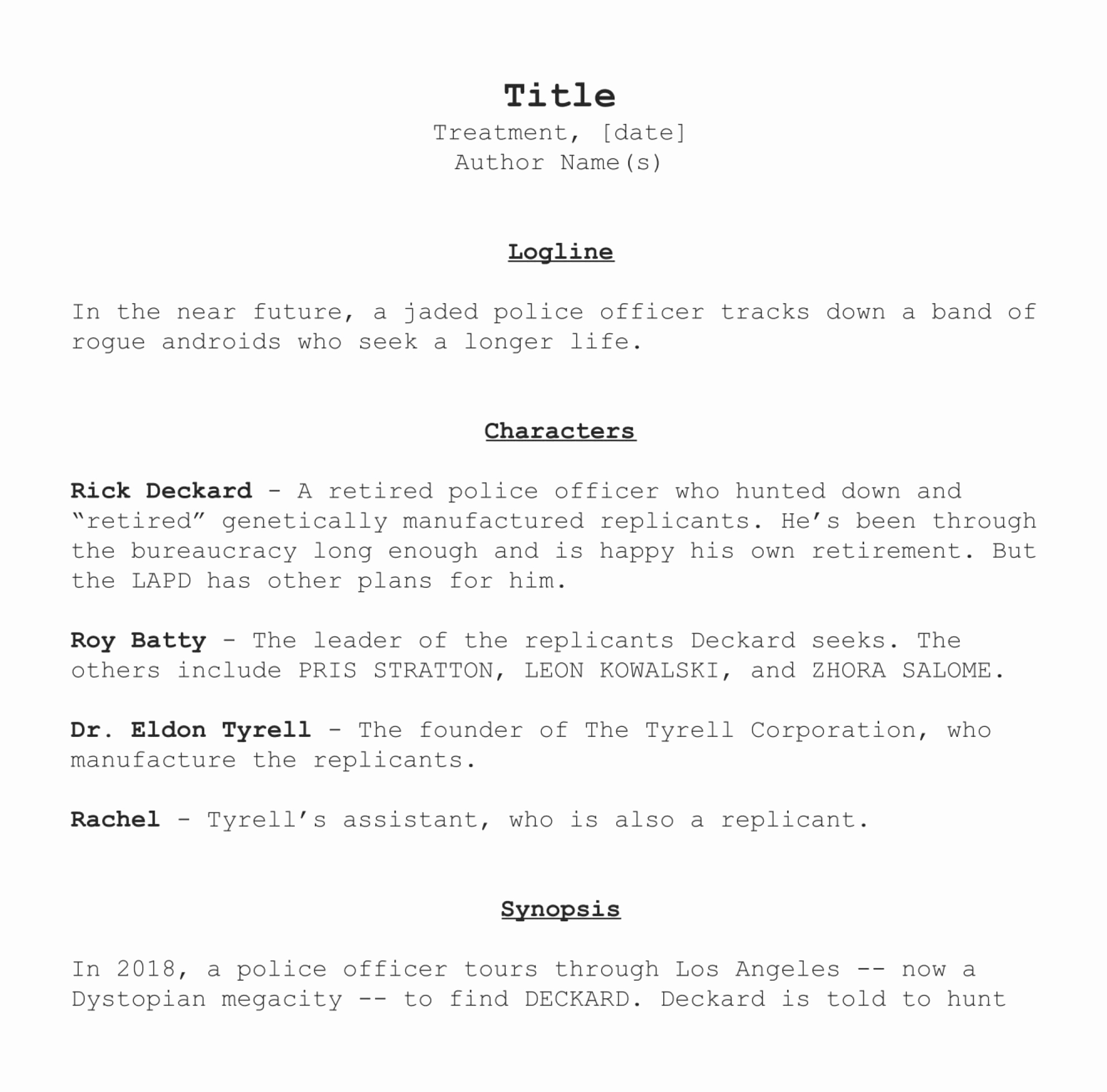 Short Film Script Template Best Of How to Write A Treatment Like the Pros [with Free