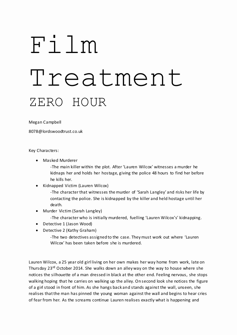 Short Film Script Template Inspirational Treatment