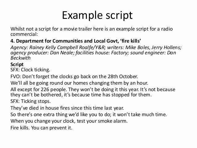 Short Film Script Template Unique Conventions Of A Radio Trailer for Film