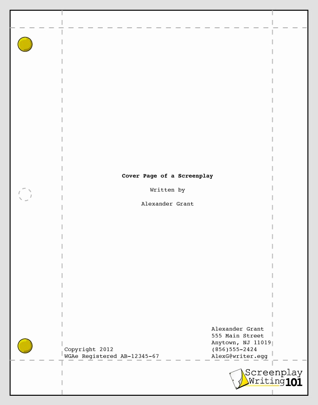 Short Film Script Template Unique Cover Page Screenplay format In 2019