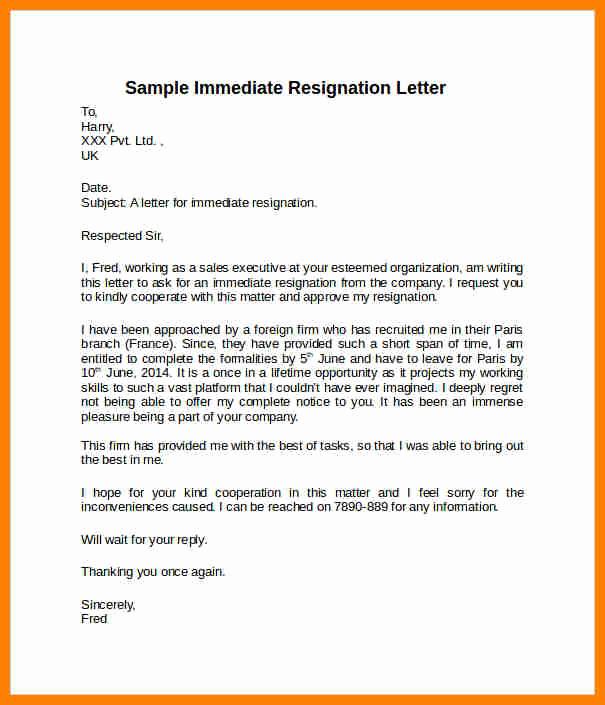 Short Notice Resignation Letter Elegant 8 Example Of Resignation Letter Short Notice