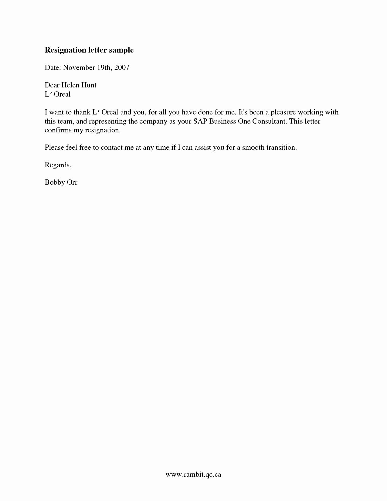 Short Notice Resignation Letter Elegant Sample Of Good Resignation Letter Samplebusinessresume