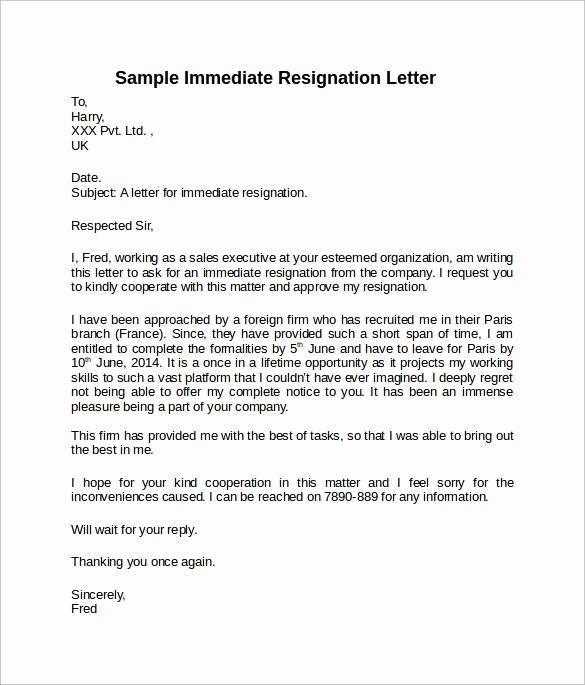 Short Notice Resignation Letter Fresh Sample Resignation Letter Short Notice 6 Free Documents