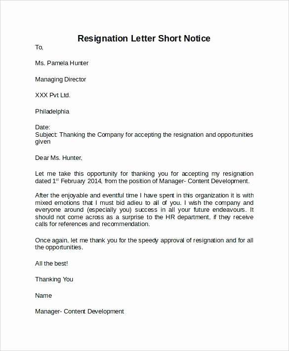 Short Notice Resignation Letter Inspirational 15 format Of Notice Writing