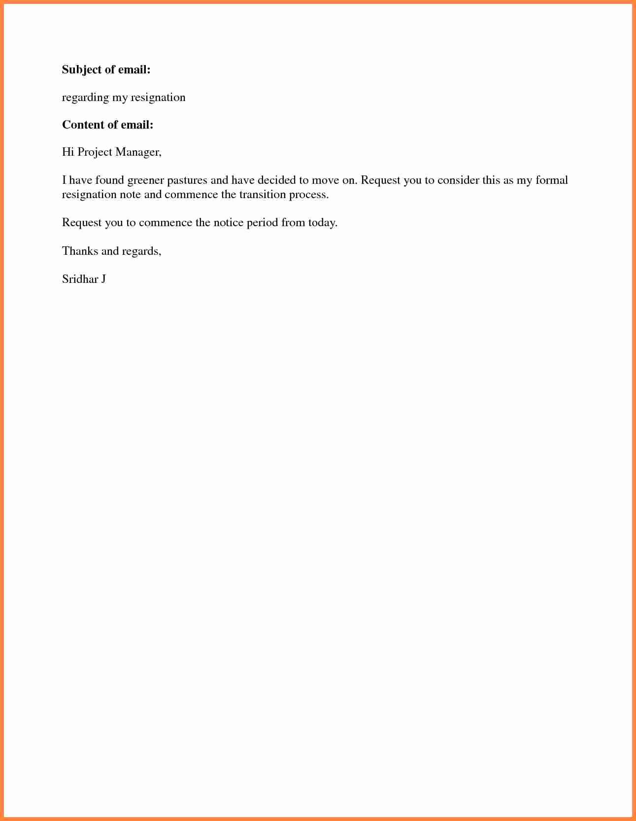 Short Notice Resignation Letter Inspirational 8 Short Notice Resignation Letter Examples