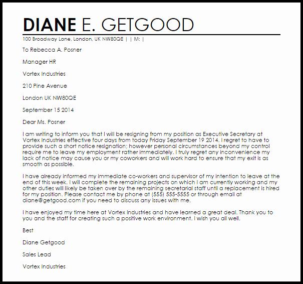Short Notice Resignation Letter Inspirational Short Notice Resignation Letter Example