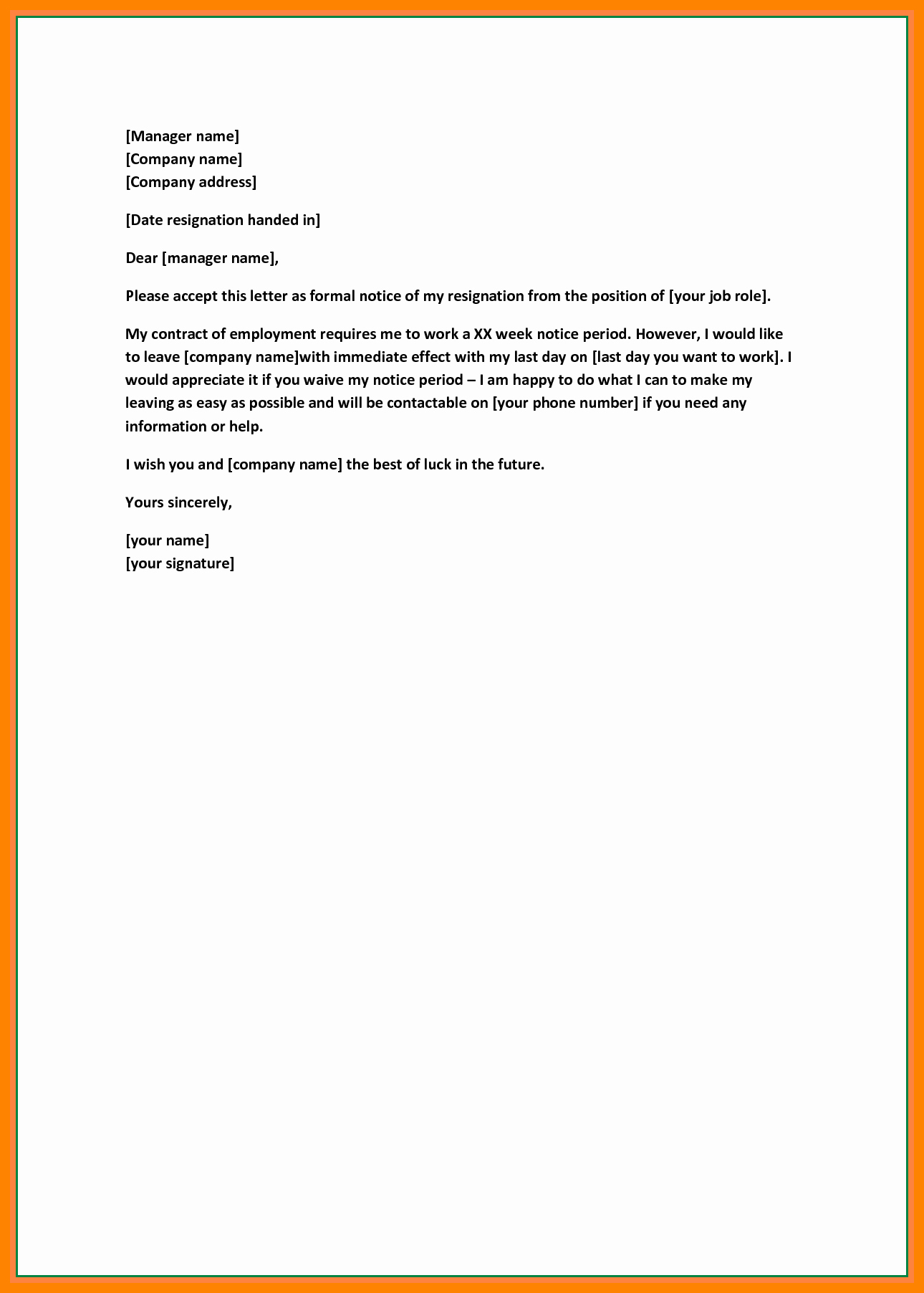 Short Notice Resignation Letter Luxury 7 Resignation Letter Short Notice