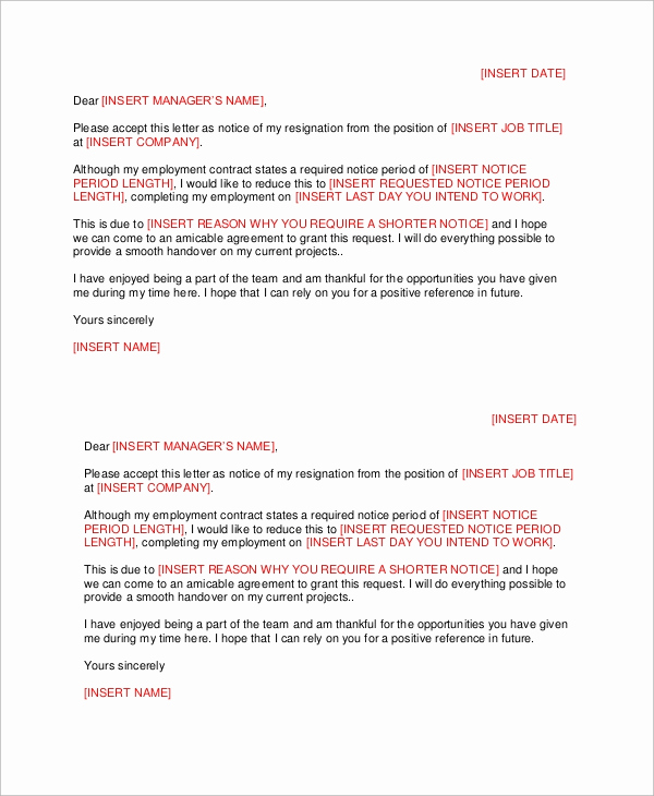 Short Notice Resignation Letter New Letter Of Resignation 51 Examples In Word Pdf