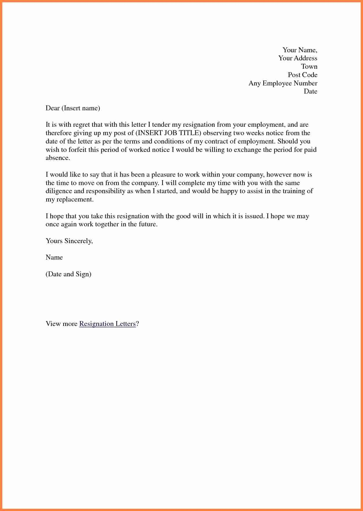 Short Notice Resignation Letter Unique 8 Short Resignation Letter Weeks Notice