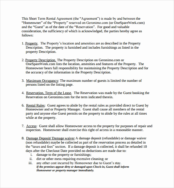 Short Term Rental Agreement Awesome 7 Sample Short Term Rental Agreements