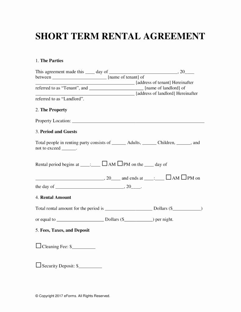 Short Term Rental Agreement Beautiful Free Vacation Short Term Rental Lease Agreement Word