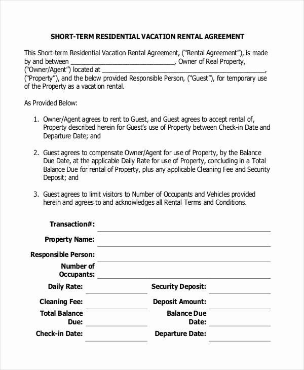 Short Term Rental Agreement Inspirational 14 Short Term Rental Agreement Templates Free Download