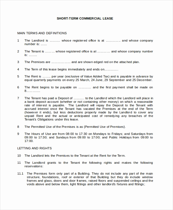 Short Term Rental Agreement Lovely Sample Mercial Lease form 9 Free Documents In Pdf Doc
