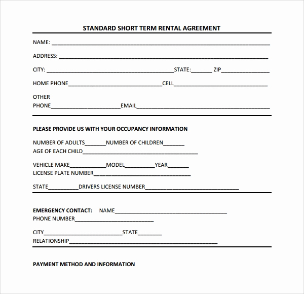 Short Term Rental Agreement New Short Term Rental Contract form 11 Download Free