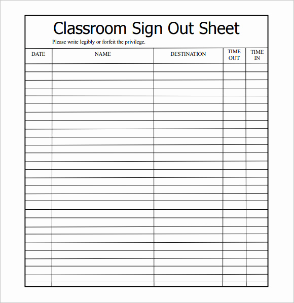 Sign In and Out Sheet Awesome 12 Sign Out Sheet Templates – Free Samples Examples
