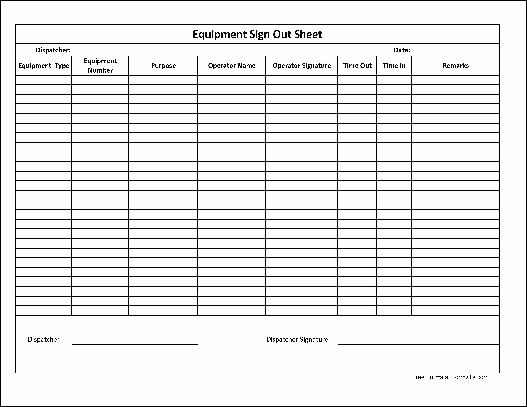 Sign In and Out Sheet Awesome Free Basic Equipment Sign Out Sheet From formville