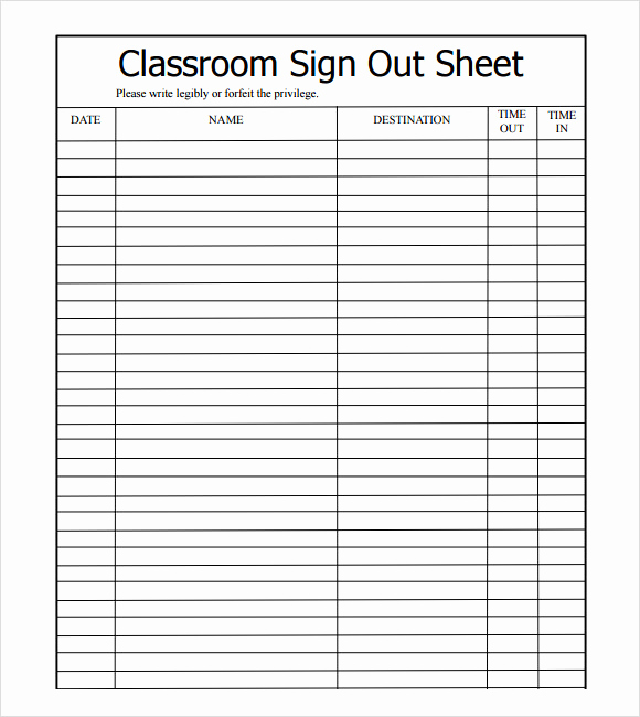 Sign In and Out Sheet Lovely 13 Sign Out Sheet Templates Pdf Word Excel