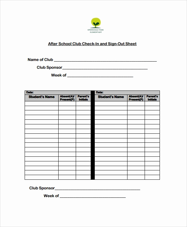Sign In and Out Sheet Luxury Sample School Sign Out Sheet 9 Free Documents Download