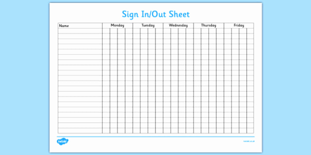 Sign In and Out Sheet Unique Sign In and Out Sheet Sign In Sign Out Sign Sheet Record