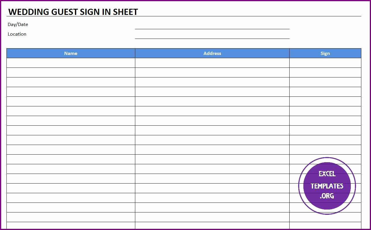 Sign In Sheet Template Excel Awesome Wedding Guest Sign In Sheet Template