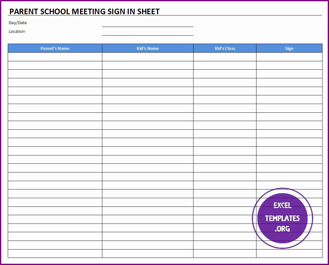 Sign In Sheet Template Excel Fresh Parent School Meeting Sign In Sheet Template