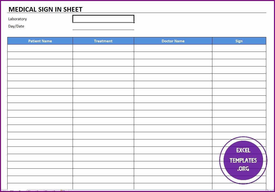 Sign In Sheet Template Excel Lovely Medical Sign In Template Excel Templates