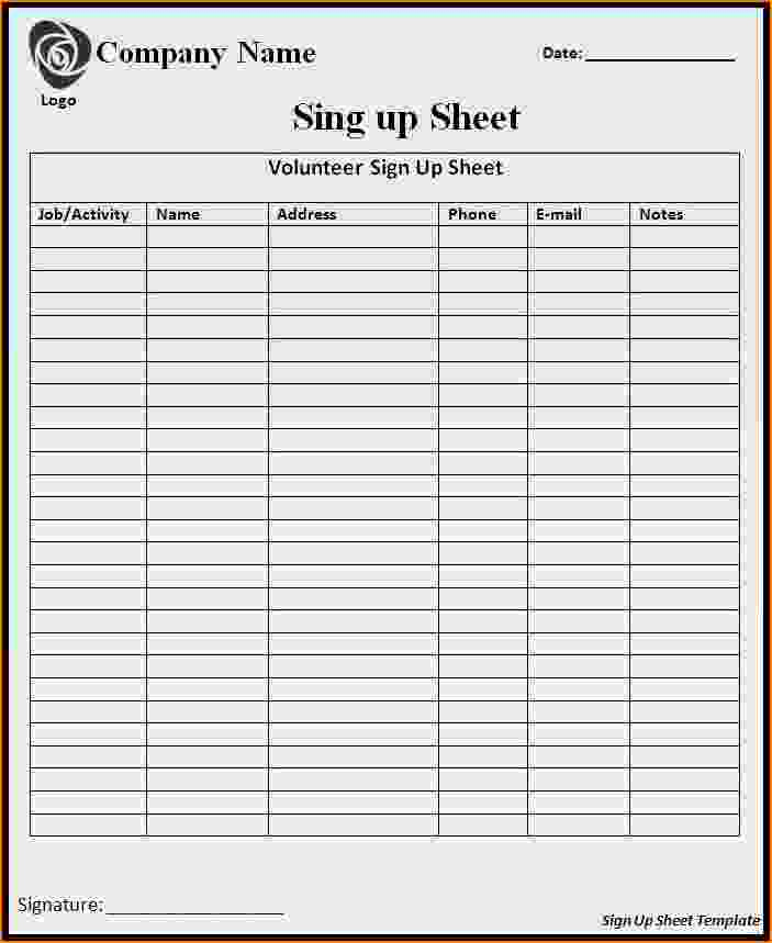 Sign Up form Template Lovely 5 Signup Sheet