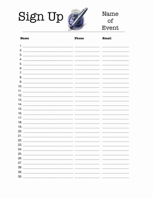 Sign Up form Template Lovely Sign Up Sheet Template