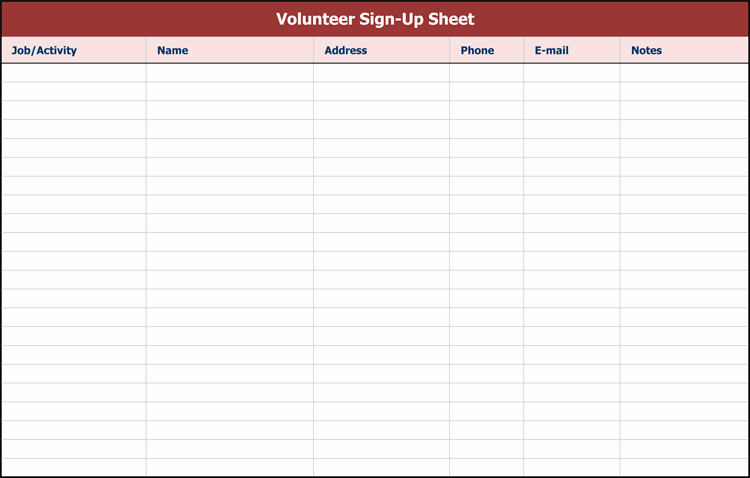 Sign Up form Template New 26 Free Sign Up Sheet Templates Excel & Word