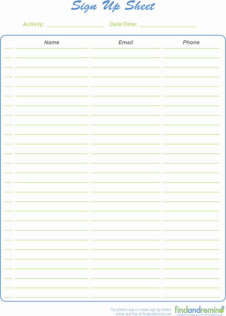 Sign Up Sheet Pdf Inspirational 39 Sign Up Sheets Free Download